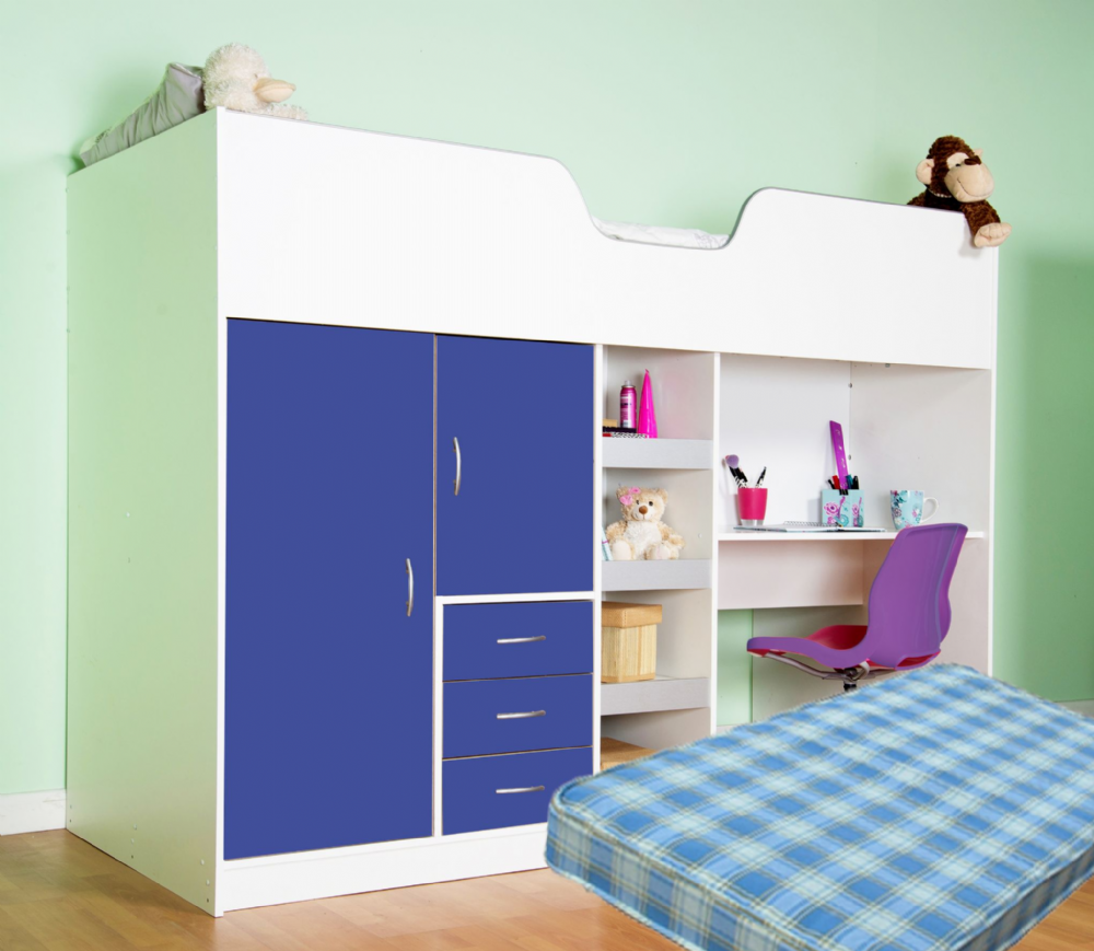 High Sleeper Cabin bed, with Colour options, ideal children safe  bed with wardrobe and desk Bourne